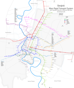 Bangkok BTS, MRT, ARL and BRT Systems Map in 2019
