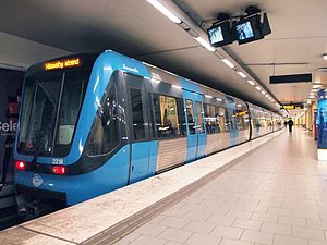 Stockholm metro - A C20 train on line 19 at Rådmansgatan station