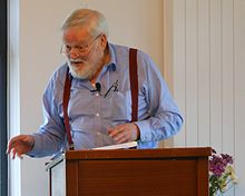 Michael Longley reading his poetry at the Corrymeela Peace Center in Ballycastle, Northern Ireland, July 2012.
