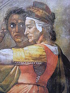Michelangelo Sistine Chapel - Eleazar and Mattan - Detail Mattan with wife