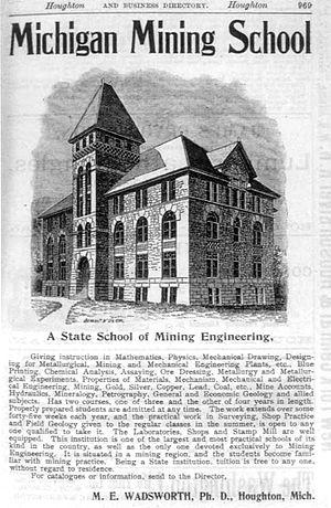 Michigan Technological University - 1895 advertisement for the Michigan Mining School