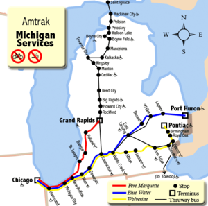 Michigan Services - Map of Amtrak routes in Michigan.