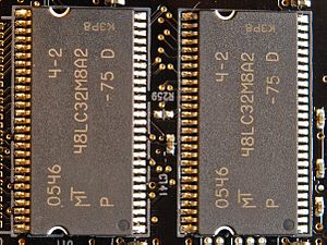 Sound Blaster X-Fi - 64 MB of dedicated memory found on the Fatal1ty Pro sound card via two Micron 48LC32M8A2-75 C (PC133) SDRAM chips