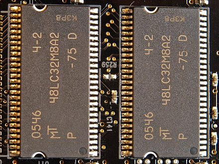 The 64 MB of sound memory on the Sound Blaster X-Fi Fatality Pro sound card is built from two Micron 48LC32M8A2 SDRAM chips. They run at 133 MHz (7.5 ns clock period) and have 8-bit wide data buses. Micron 48LC32M8A2-AB.jpg