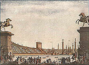 Naumachia - A modern naumachia held in the Civic Arena of Milan in 1807