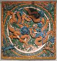 Ming dynasty wall tile, 16th century, pottery and glaze, Lowe Art Museum.JPG