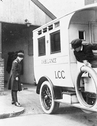 London Ambulance Service - The female crew of a London County Council ambulance return to their station during the First World War,