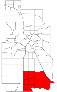 Location of Nokomis within the U.S. city of Minneapolis