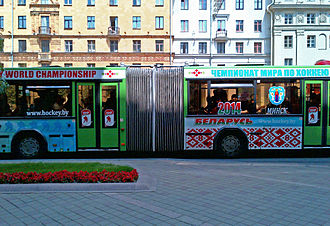 2014 IIHF World Championship - Bus in Minsk in 2012 advertising the 2014 World Championships