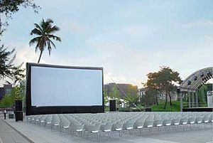 Inflatable movie screen - Example of an open air cinema using an inflatable screen
