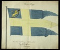 Modellritning örlogsflagga Norge, 1814 cirka. Helbild - Livrustkammaren - 31051.tif