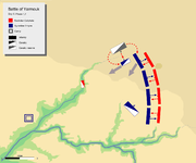 day 6 phase 1, showing khalid's flanking maneuver at Byzantine left flank routing Byzantine left wing and its cavalry units.