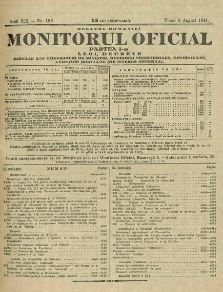 File:Monitorul Oficial al României. Partea 1 1941-08-08, nr. 186.pdf