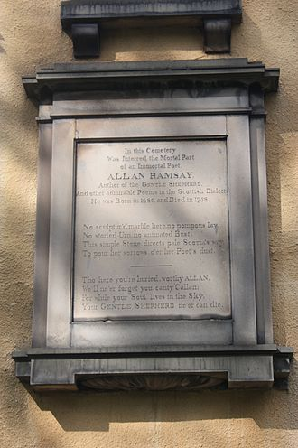 Allan Ramsay (poet) - Monument to Allan Ramsay on the south side of Greyfriars Kirk