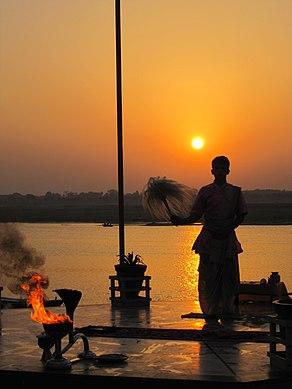 Morning Aarti of the Ganges at sunrise, Varanasi.jpg