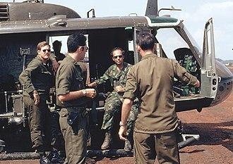 Morton Dean - News correspondent Morton Dean in Vietnam in 1971 during a medevac mission for CBS Evening News