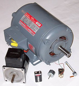 Electric motor - Various electric motors, compared with a 9 V battery.
