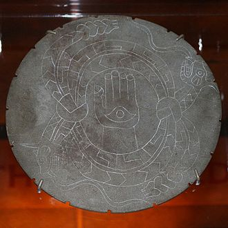 Moundville Archaeological Site - Engraved stone palette from Moundville, illustrating two horned rattlesnakes, perhaps referring to The Great Serpent of the Southeastern Ceremonial Complex