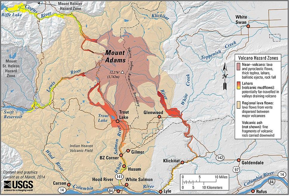Mount Adams Volcano Hazard Zones