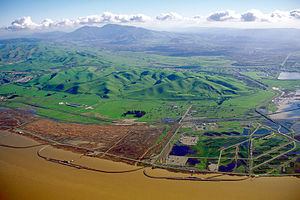 Mount Diablo - Aerial view of the Los Medanos foothills and Mount Diablo from over Suisun Bay at Concord, California