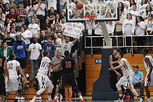 Knott Arena - The Mount St. Mary's student section taunts St. Francis University player Earl Brown (15) during a game at the Knott Arena on January 24, 2015.