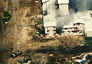 Waco siege - Smoke rises from the compound