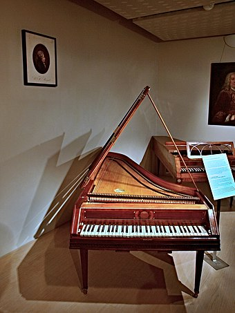 Fortepiano played by Mozart in 1787, Czech Museum of Music, Prague Mozartuv klavir 1.jpg