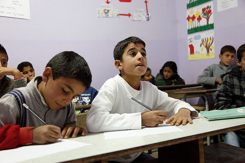 File:Muhanad and Ahmad, refugees from Syria in school in Lebanons Bekaa Valley (11174124233).jpg