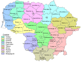 Counties of Lithuania - Image: Municipalities in Lithuania