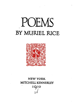 Mitchell Kennerley - Title page of an edition of poetry printed by Mitchell Kennerly in 1910