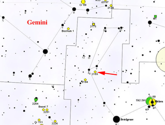 NGC 2169 - Map showing the location of NGC 2169
