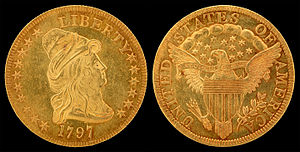 Half eagle - A unique 16-star variety of the 1797 Turban Head half eagle