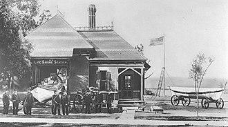 History of Northwestern University - The Lifesaving Crew at their stations.