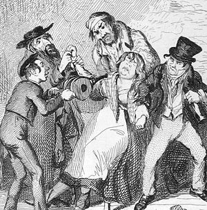 "Nancy (Oliver Twist) - Nancy swooning. The ""plump"" Nancy as portrayed by George Cruikshank"