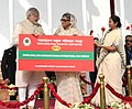 Narendra Modi and the Prime Minister of Bangladesh, Ms. Sheikh Hasina fagging off the Dhaka-Shillong-Guwahati bus service, in Dhaka, Bangladesh. The Chief Minister of West Bengal, Kumari Mamata Banerjee is also seen.jpg