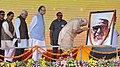 Narendra Modi paying homage to Babu Jagjivan Ram on his birth anniversary, which is observed as Samatha Diwas, during the launch of 'Stand Up India' and e-Rickshaw distribution programme, in Noida, Uttar Pradesh.jpg