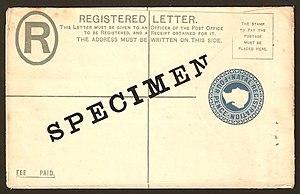 Specimen stamp - A specimen registered envelope from Natal.