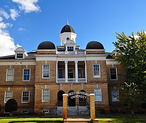 """Freed–Hardeman University - The National Teacher's Normal and Business College Administration Building now known as the Old Administration Building, also affectionately called """"Old Main,"""" is listed on the National Register of Historic Places."""