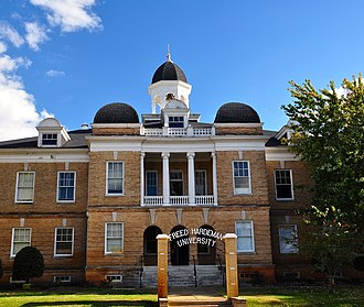 "Freed–Hardeman University - The National Teacher's Normal and Business College Administration Building now known as the Old Administration Building, also affectionately called ""Old Main,"" is listed on the National Register of Historic Places."