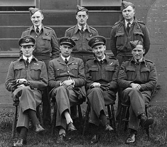 No. 44 Squadron RAF - Sole surviving crew of 44 Squadron following the Augsburg raid. John Nettleton is sitting second from the left.