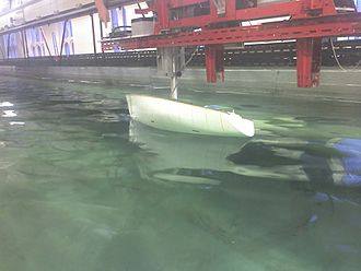 Ship stability - A model yacht being tested in the towing tank of Newcastle University