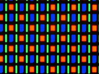 AMOLED - Magnified image of the AMOLED screen on the Nexus One smartphone using the RGBG system of the PenTile matrix family