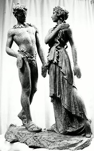 Bronislava Nijinska - Her brother Vaslav Nijinsky and Bronislava Nijinska,  sculpture by Giennadij Jerszow,  the Grand Theatre, Warsaw