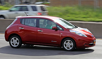 Electric car -  Nissan Leaf on the highway