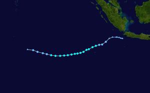 1974–75 Australian region cyclone season - Image: Norah 1974 track