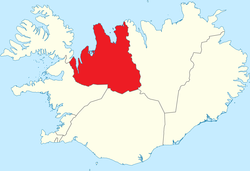 Location of Northwestern Region (Norðurland vestra) on the map