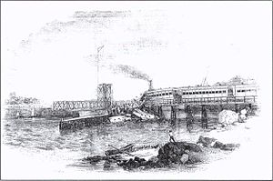 Norwalk rail accident - Originally entitled 'The Catastrophe' the illustration depicts the accident site