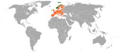 Map indicating locations of Norway and European Union