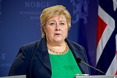 Norwegian Prime Minister Solberg Addresses Reporters With Secretary Kerry at a News Conference in Oslo (27083505643).jpg