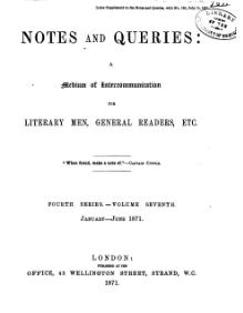 Notes and Queries - Series 4 - Volume 7.djvu
